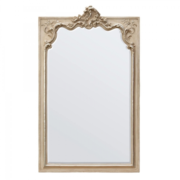 Rocaille Cream Silver Gilt Leaf Clay Paint Bevelled  Mirror