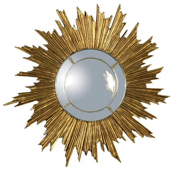 Gold Gilt Leaf and Silver Gilt Leaf  Sunburst Convex  Mirror