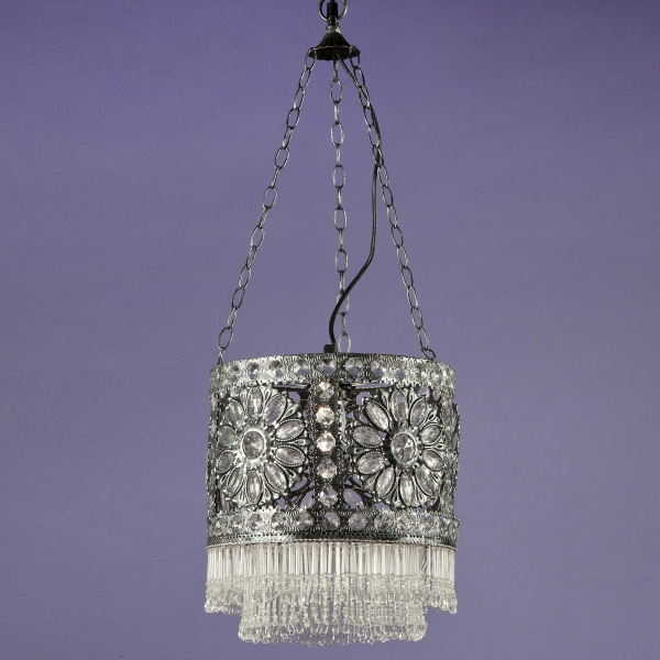 Jewelled Ceiling Light - Antique Silver