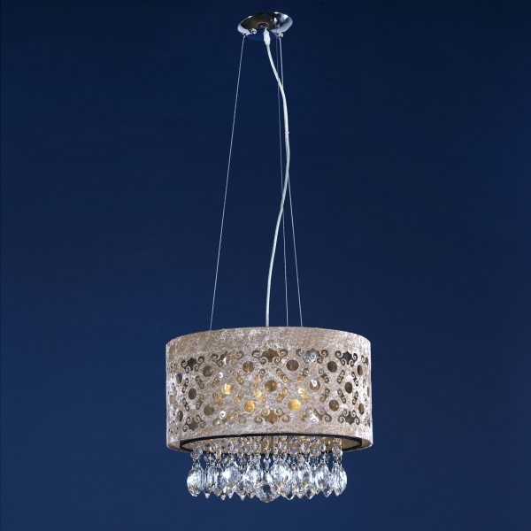 Jewelled Filigree Shade Ceiling Light - Brown