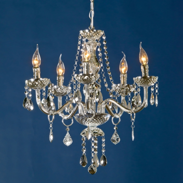 Glimmer 5 Light Chandelier - Silver