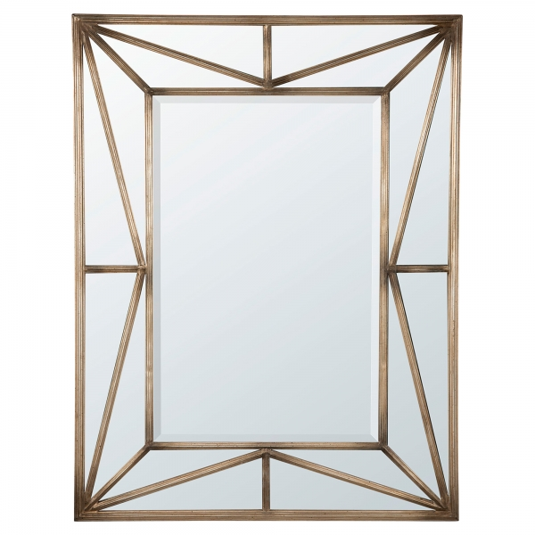 Geometric Metal Framed Mirror - Antique Gold