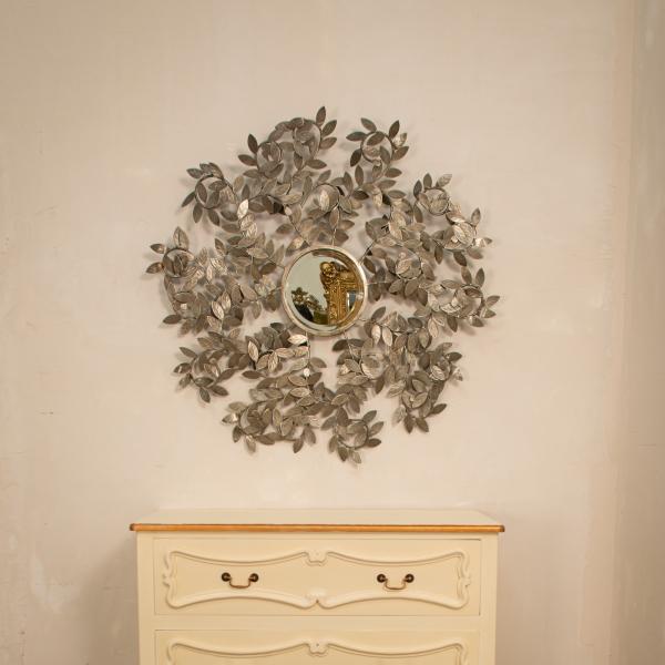 Rose Leaf Metal Framed Wall Mirror - Silver