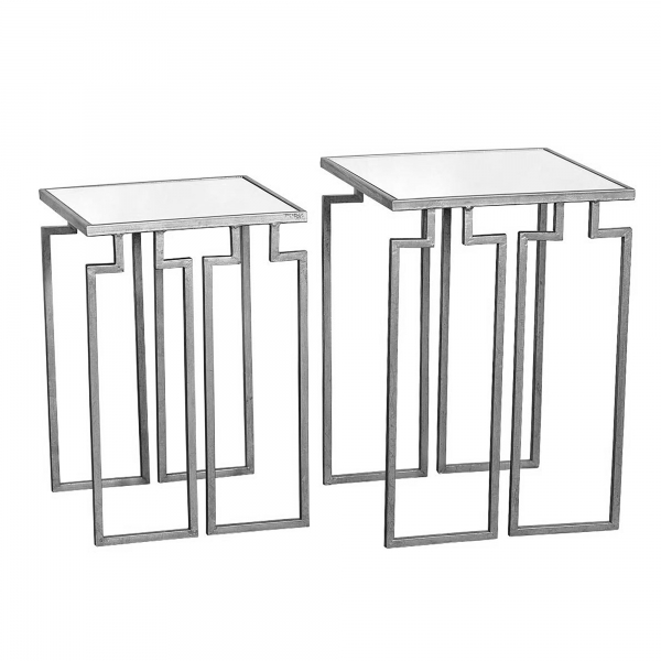 Gin Shu Metal Nest of Tables - Silver Gilt Leaf