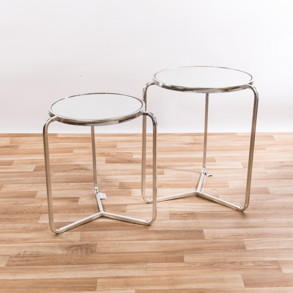 Silver Gilt Leaf Parisienne Set of two Mirrored Metal Nesting Tables - EXTRA PACKAGE