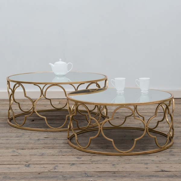 Gin Shu Metal Nest of Coffee Tables - Gold Gilt Leaf
