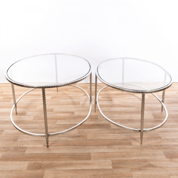 Gin Shu Metal Nest of Coffee Tables - Silver Gilt Leaf