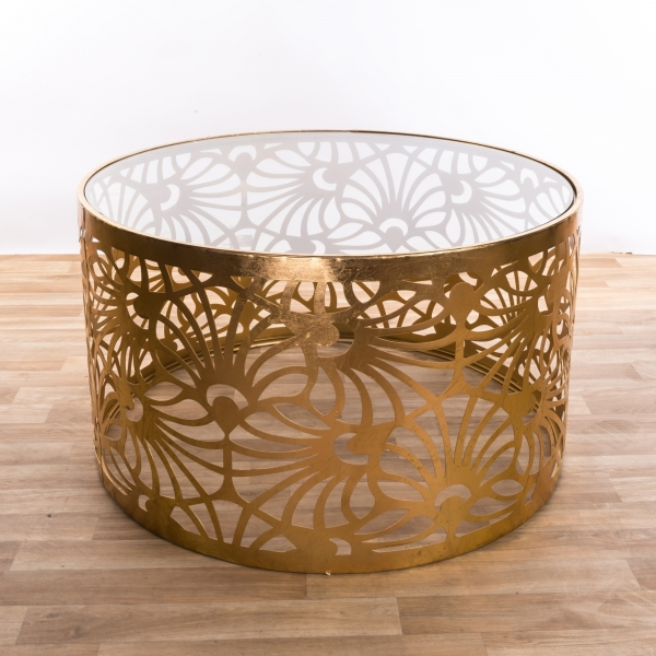 Gin Shu Metal Coffee Table - Gold Gilt Leaf