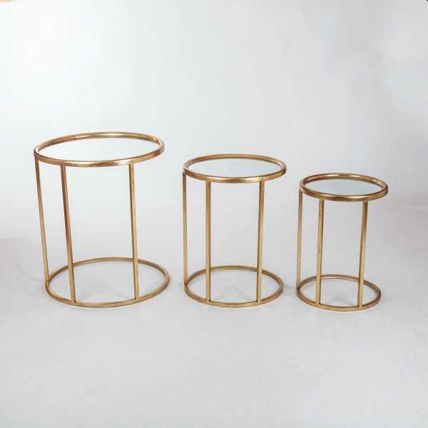 Gin Shu Metal Nest of Tables - Gold Gilt Leaf