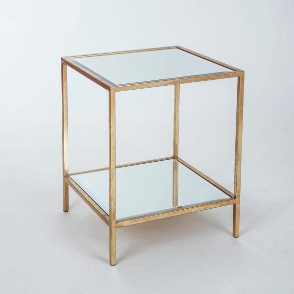 Gin Shu Metal Side Table - Gold Gilt Leaf
