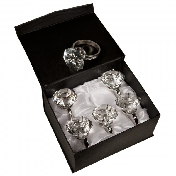 Diamond Ring - Box - Set of 6 - Clear Crystal