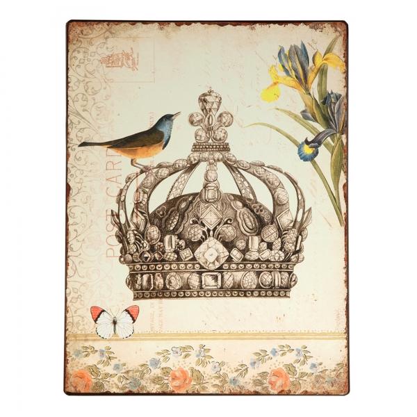 Vintage Primavera Metal Wall Art Crown with Bird