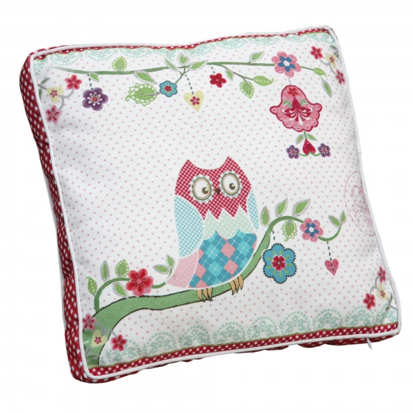 Vintage Primavera Cushion with Owl on Branch