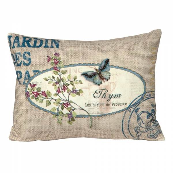 Vintage Primavera Cushion Linen with Butterfly