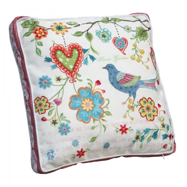 Vintage Primavera Cushion with Bird and Heart