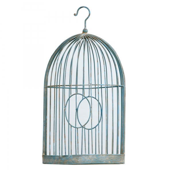 Vintage Primavera Bird Cage Mirror - Antique Blue