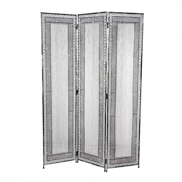 Jewelled 3 Panel Screen - Antique Silver