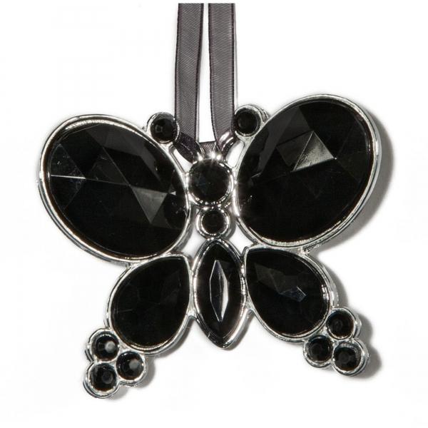 Black Hangning Jewel Bead Butterfly