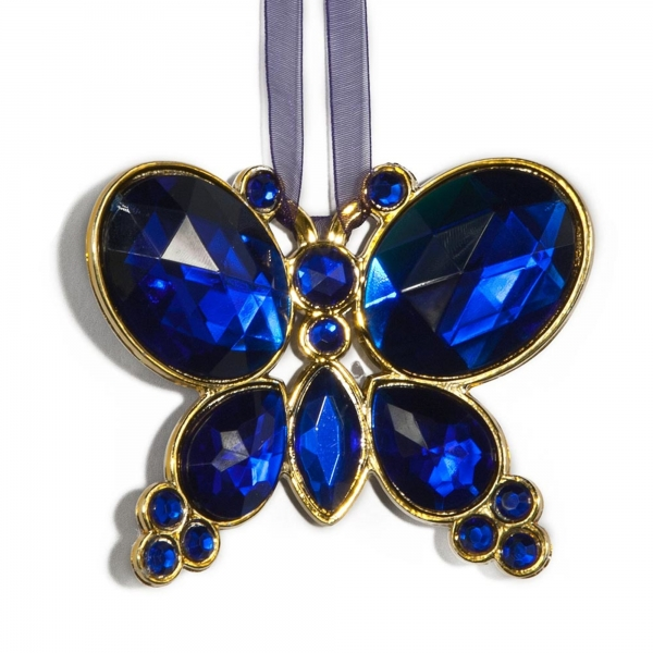 Blue Hanging Jewel Bead Butterfly