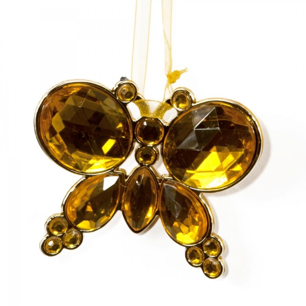 Gold Hanging Jewel Bead Butterfly