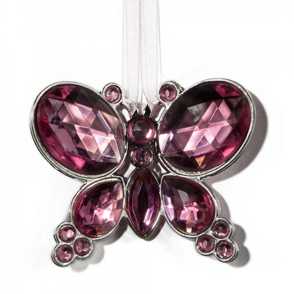 Pink Hanging Jewel Bead Butterfly
