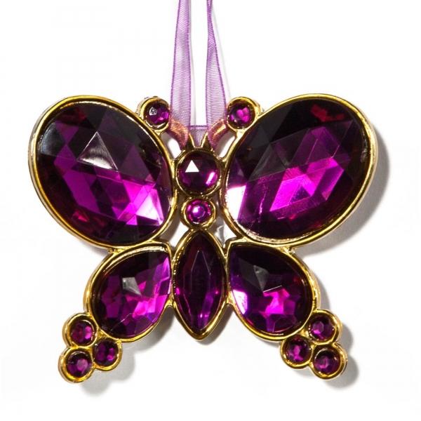 Purple Hanging Jewel Bead Butterfly