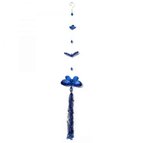 Blue Three Butterfly chain with Tassels