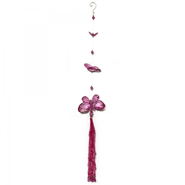 Fuchsia Three Butterfly chain with Tassels