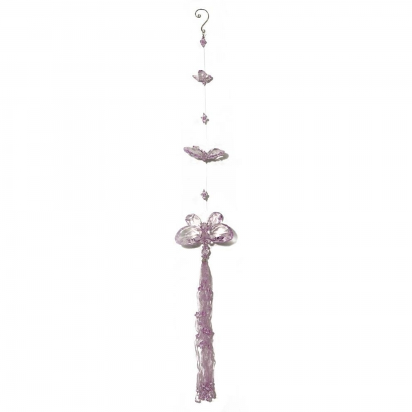 Lilac Three Butterfly chain with Tassels