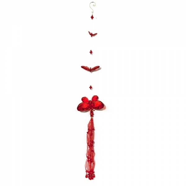 Red Three Butterfly chain with Tassels
