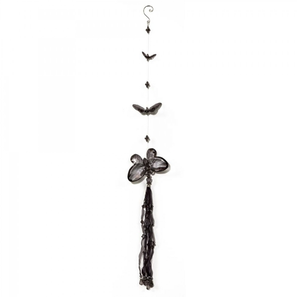 Smoked/Black Three Butterfly chain with Tassels