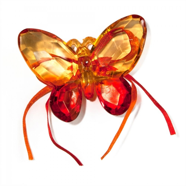 Orange/Red Two tone Butterfly with Ribbon