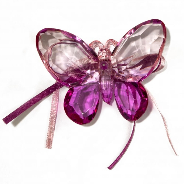 Pink/Purple Two tone Butterfly with Ribbon