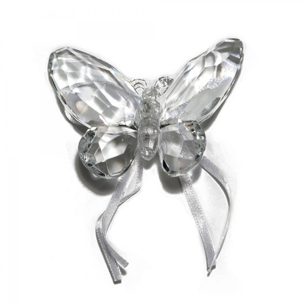 Clear Butterfly with Ribbon