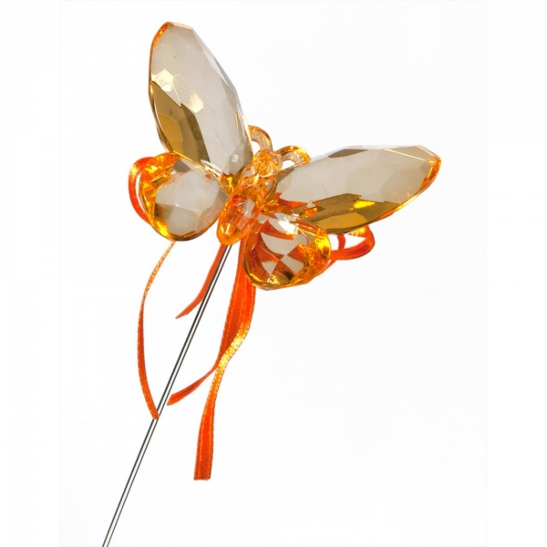 Orange Butterfly with Ribbon
