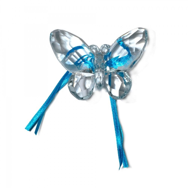 Water Blue Butterfly with Ribbon