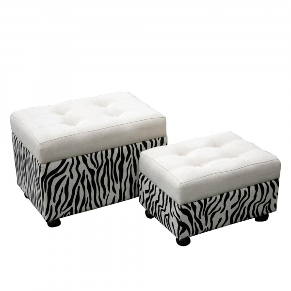 Grand Safari Zebra Ottoman Set - Black and White