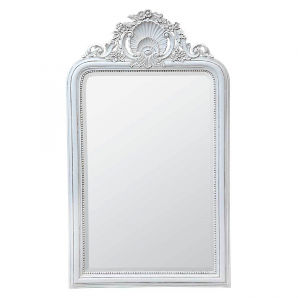 Hand carved Wooden Mirror White