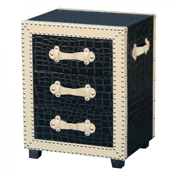 Mock Croc Bedside Table - Black and Cream