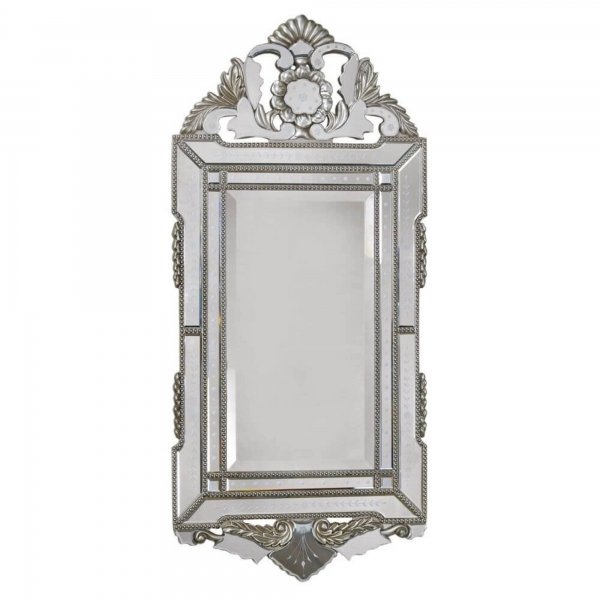 Vintage Venezia Murano Antique Style Iridescent Silver Etched Wall Mirror