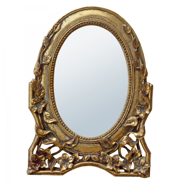Rococo Floral Antique Style Gold Oval Decorative Table or Wall Mirror