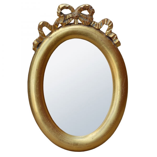 Rococo Ribbon Antique Style Gold Oval Decorative Table or Wall Mirror