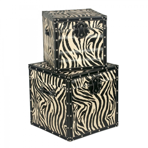 Grand Safari Zebra Trunk Set - Black and Cream