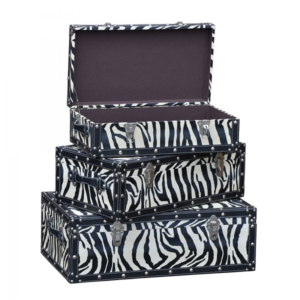 Grand Safari Zebra Trunk Set - Black and White