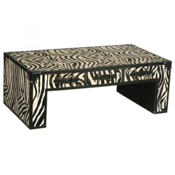Grand Safari Zebra Coffee Table - Cream and Black
