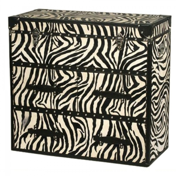 Grand Safari Zebra Chest of Drawers - Black and Cream