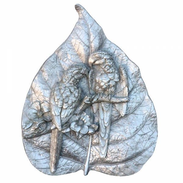 Silver Parrots Carved Into A Rainforest Leaf -Decorative Wall Desk Plaque