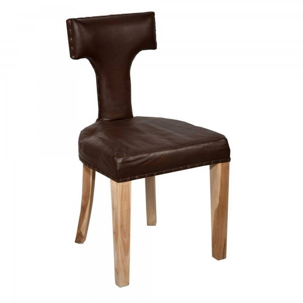 Leather Dining Chair - Brown