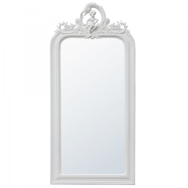 Carved Full Length Mirror - Antique White