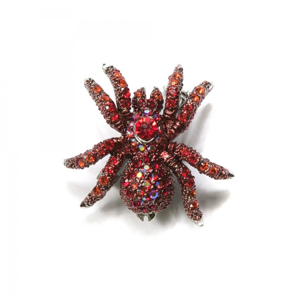 Spider Brooch - Red